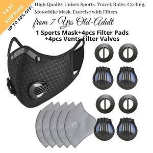 Unisex Black Face mask 4-5 Layers PM2.5 Filters